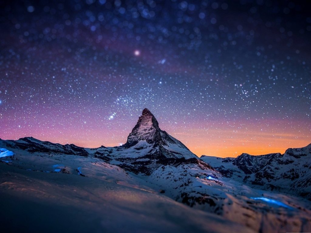 Snowy Winter Night Mountains With Snow Hd Wallpaper For
