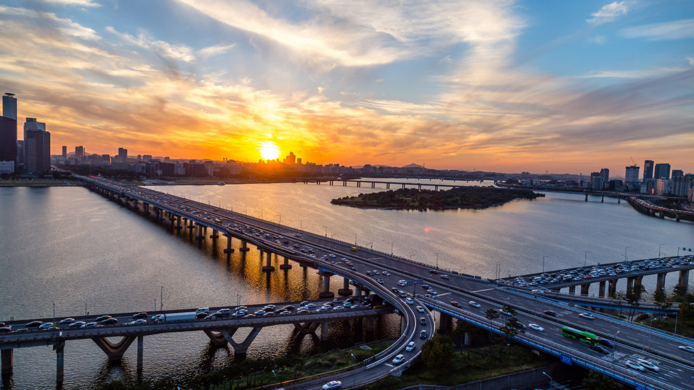 Las Vegas Strip Hd Wallpaper Sunset Seoul Mapo Bridge Of The Han River In South Korea