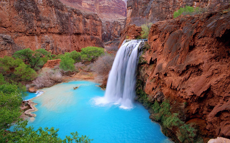 Disney Iphone X Wallpaper Grand Canyon Arizona Usa Havasu Falls Blue Green Waters