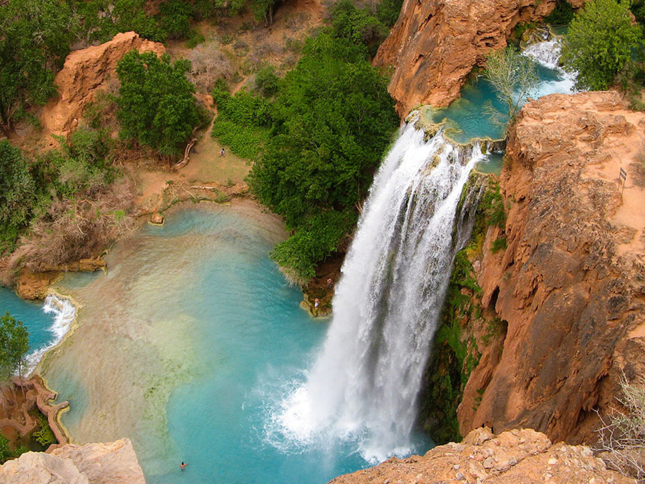 Havasu Falls Arizona Wallpaper Grand Canyon Havasu Falls Arizona Usa Blue Waters Red Rock