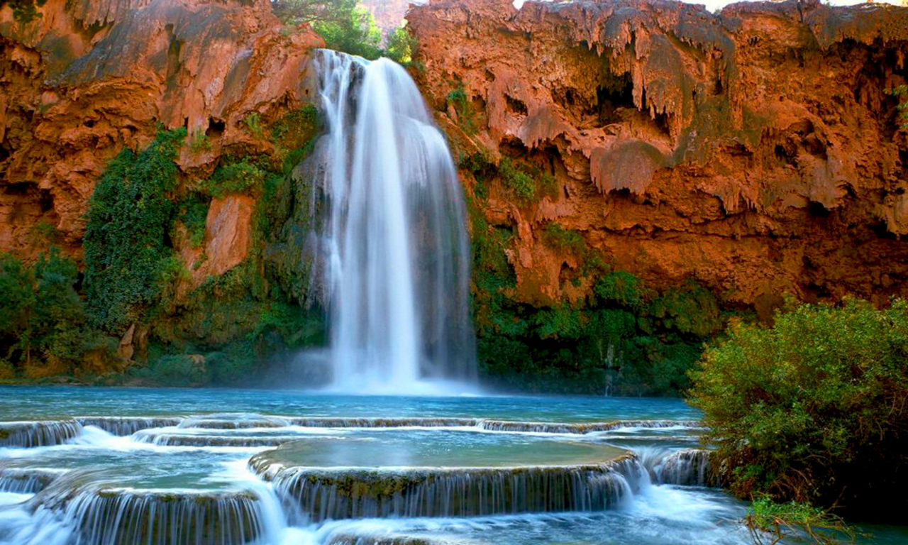 Fall Desktop Fantasy Wallpaper Havasu Falls Havasupai Arizona U S Desktop Hd Wallpaper