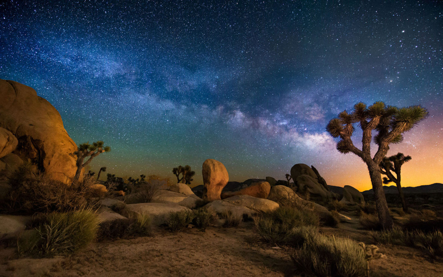 Starry Night Iphone X Wallpaper Starry Sky Desert Area Night In Joshua Tree National Park