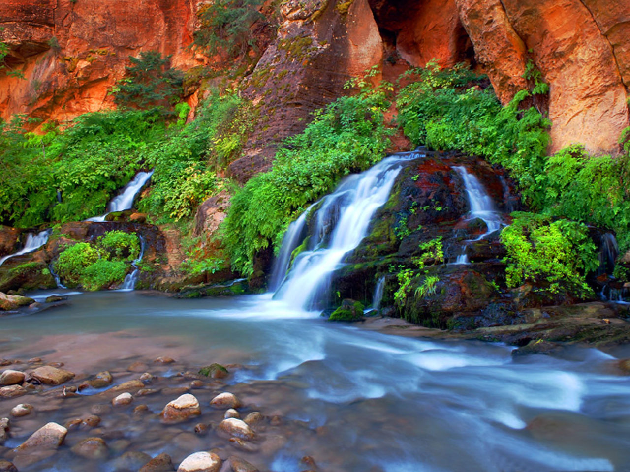 Falls Hd Wallpaper Free Download The Narrows Zion National Park Arizona United States