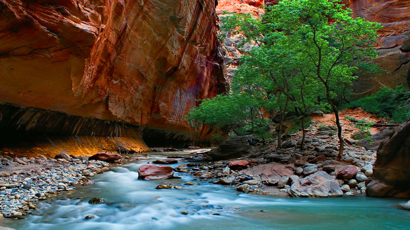 Amazing Iphone 5 Wallpapers The Narrows Zion National Park Rocks Stones River Canyon
