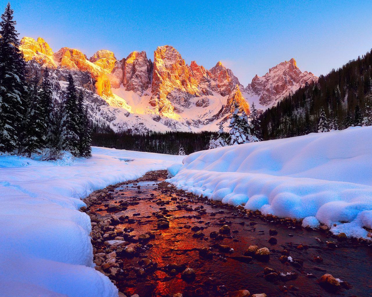 Falling Snow Wallpaper Download Dolomites Mountain Peaks In Italy Sunrise Winter Snow
