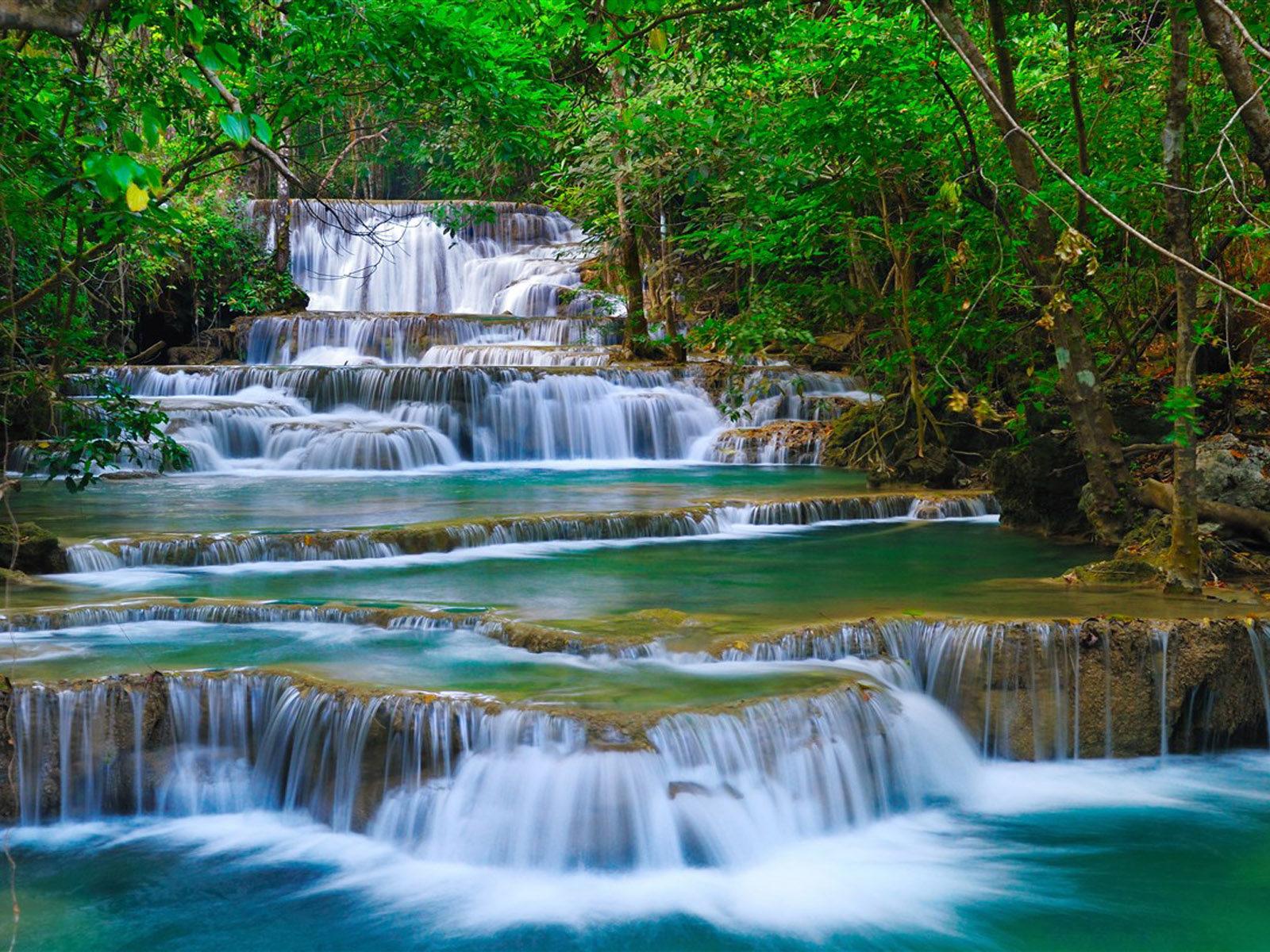 Fall Wallpaper Hd 1280x1024 Tropical Cascade Waterfall In Kanchanaburi Thailand Nature