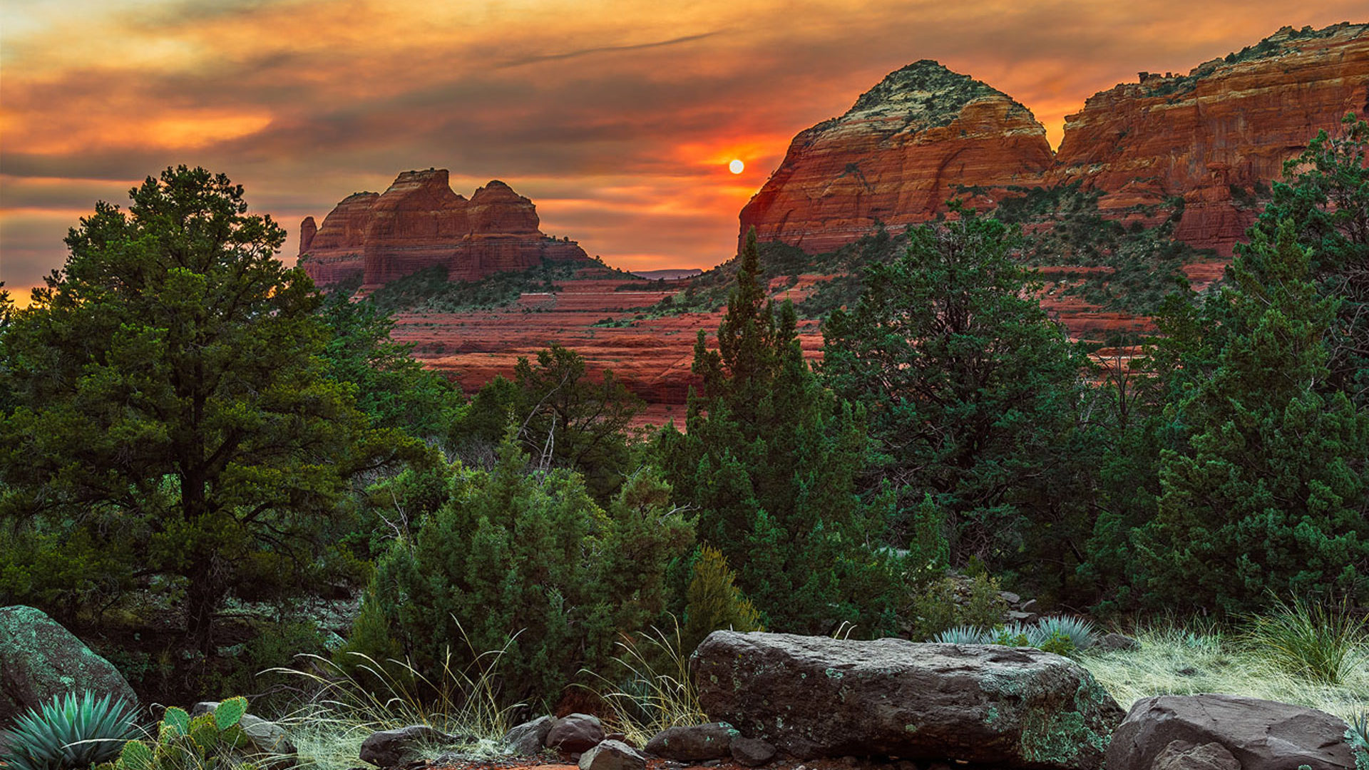 Free Fall Wallpaper For Iphone 5 Red Sunset Schnebly Hill Road Sedona Arizona Usa Ultra Hd