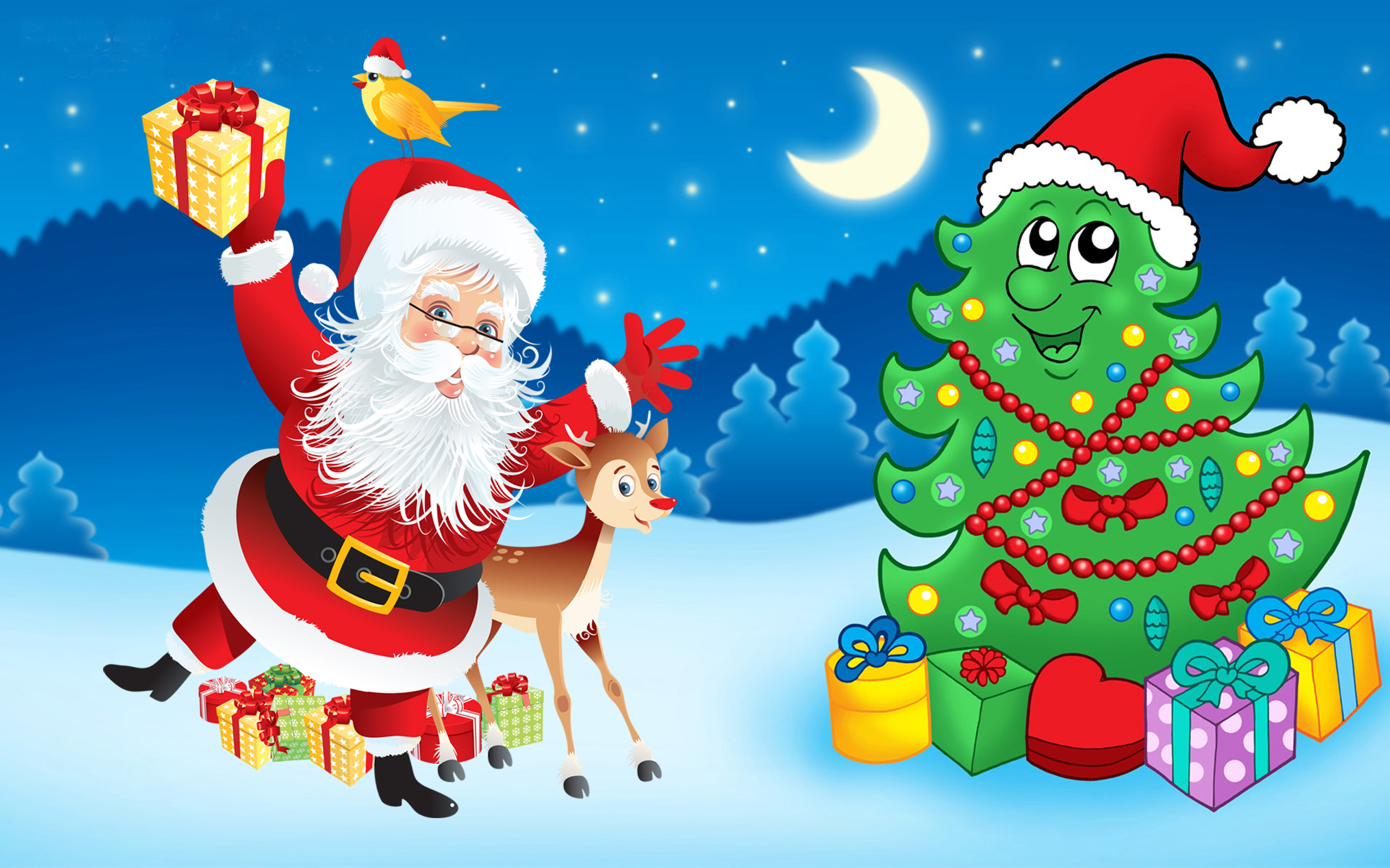 Happy Diwali Animated Wallpaper Santa Claus Christmas Tree Decorations Gifts Cartoon