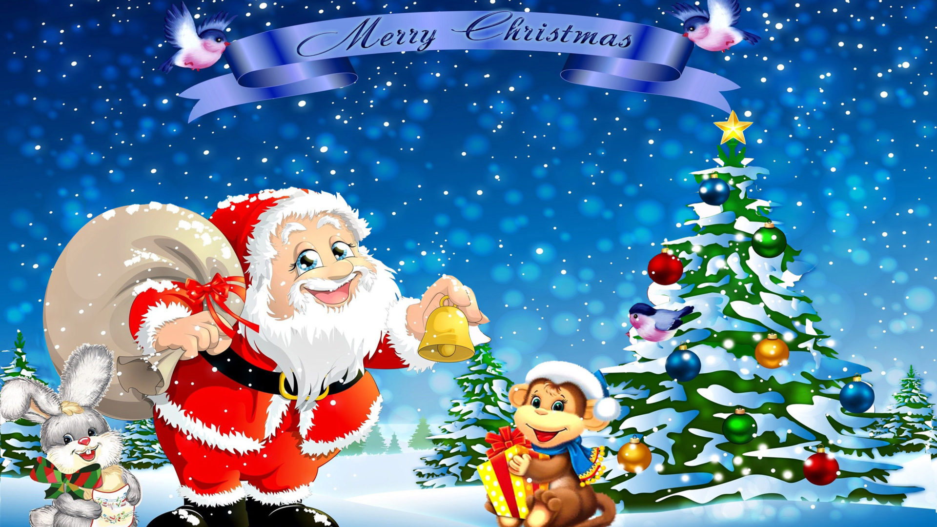 Cute Animals Playing Soccer Wallpaper Santa Claus Rabbit Monkey Christmas Tree Hd Wallpaper