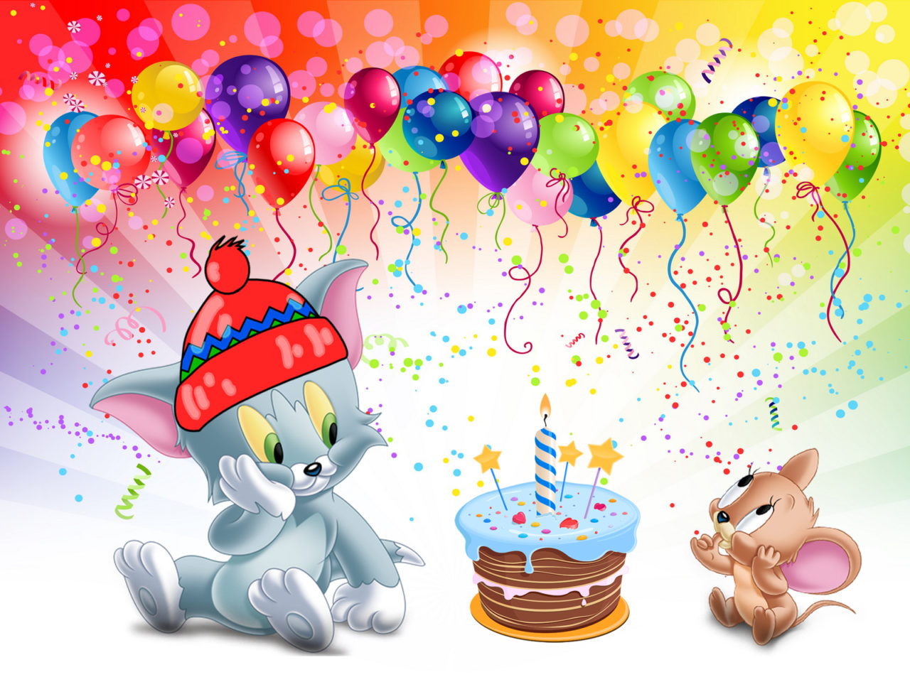 Tom And Jerry First Birthday Cake Desktop Hd Wallpaper For
