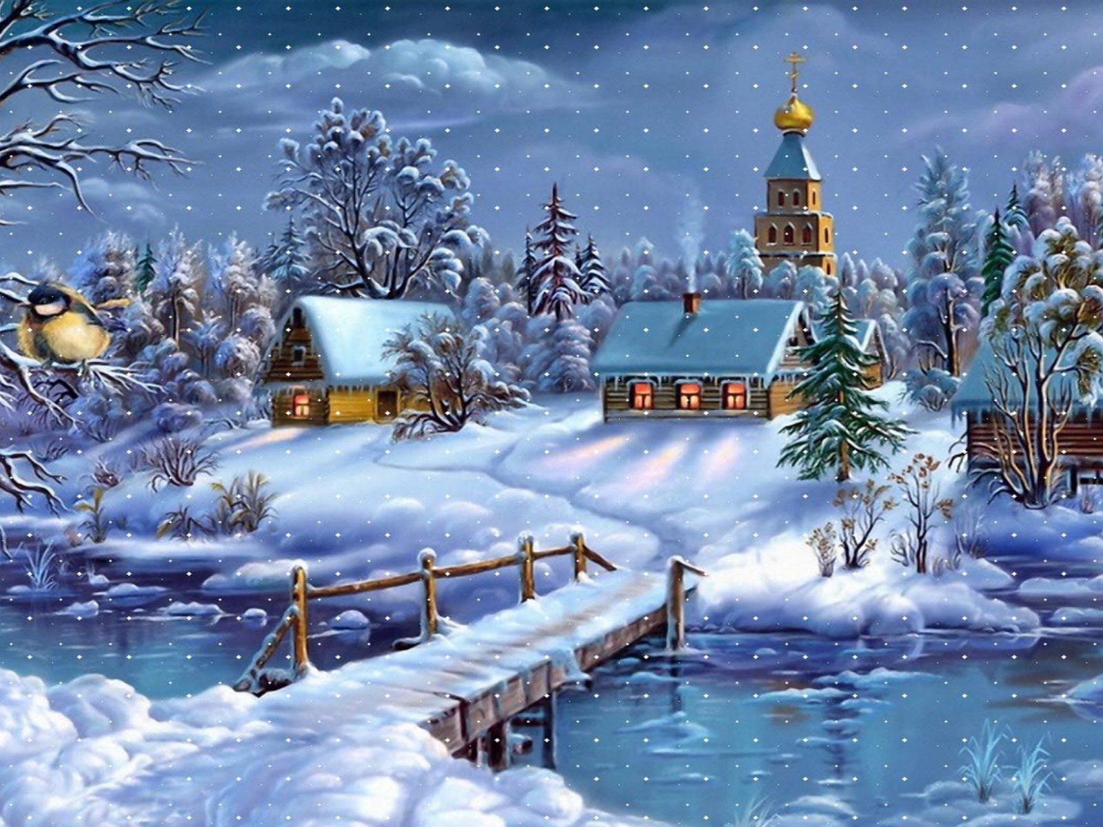 Winter Wonderland Iphone Wallpaper Winter Landscape Village Church River Wooden Bridge Layer