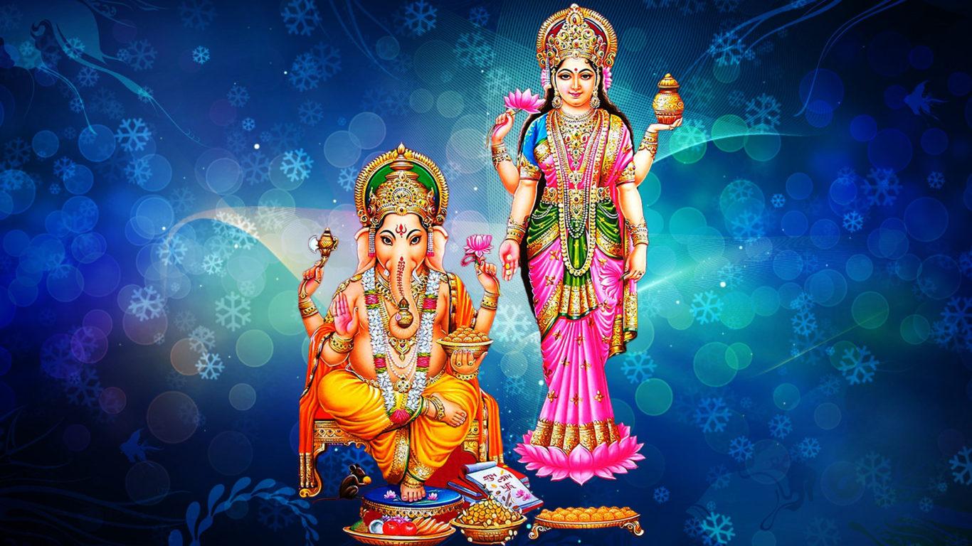 3d Laxmi Mata Wallpaper Goddess Laxmi And Lord Ganesh Blue Decorative Background