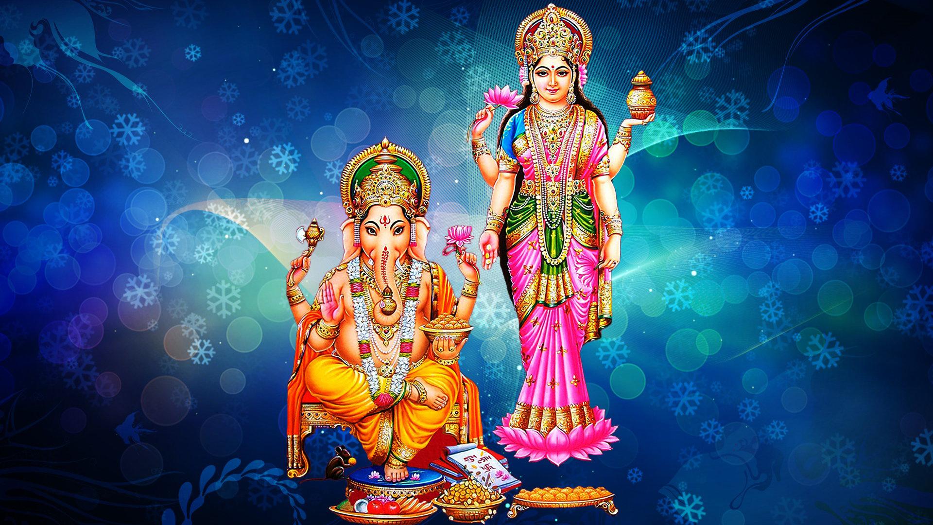 Rama 3d Wallpaper Goddess Laxmi And Lord Ganesh Blue Decorative Background