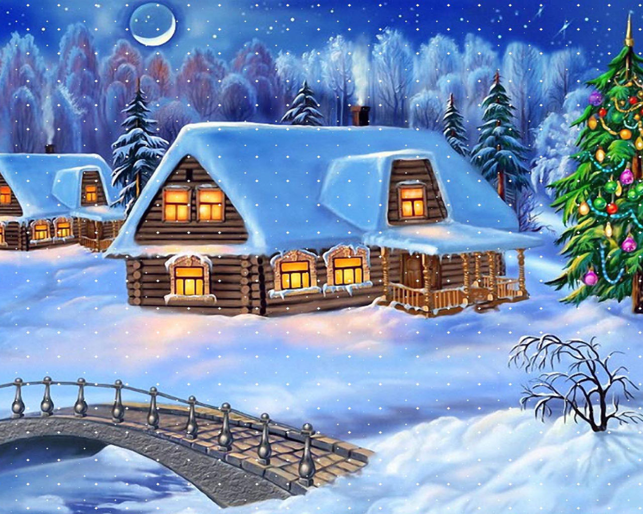 Lord Ganesha Animated Wallpapers Happy New Year Christmas Tree Winter Village Houses Wooden