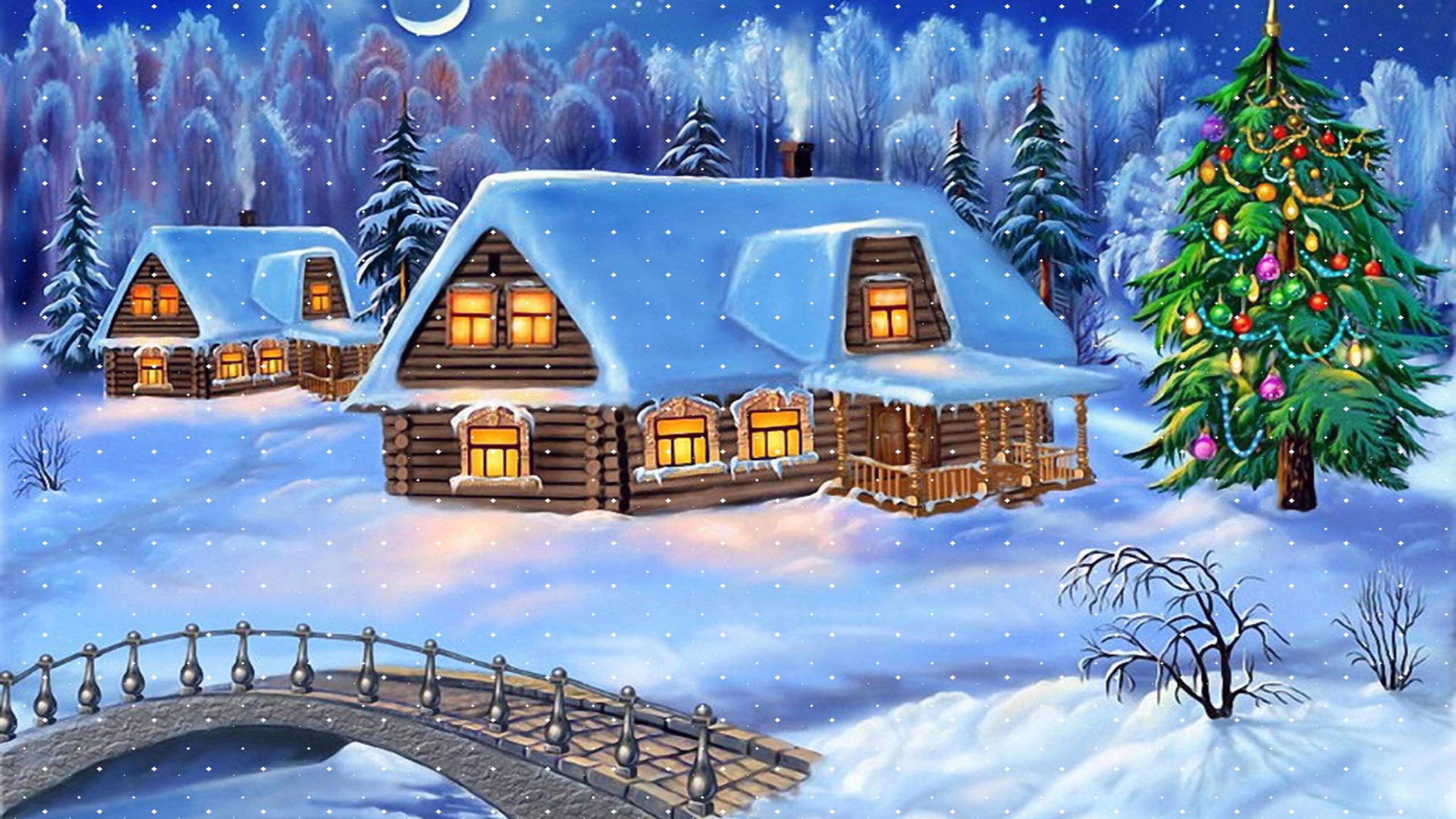 Happy New Year Christmas Tree Winter Village Houses Wooden