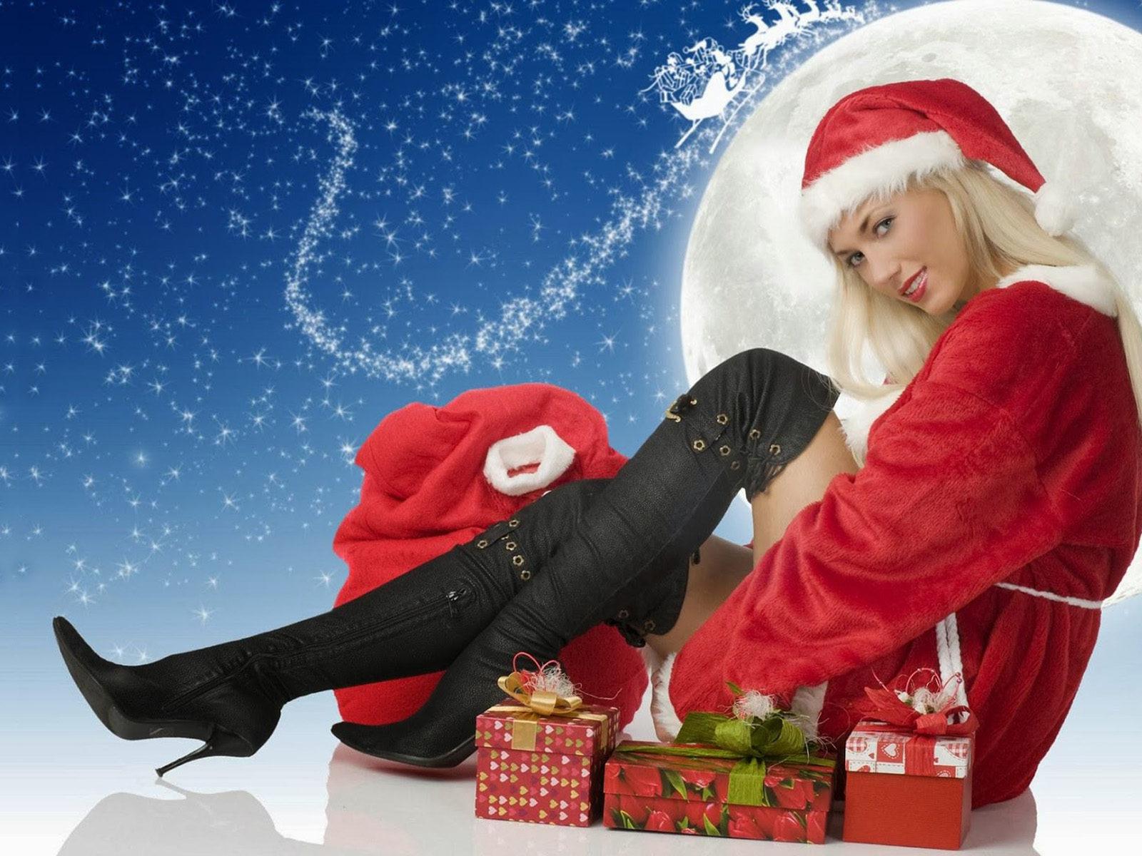 Www New Hd Girl Wallpaper Com Happy New Year Santa Claus Girl Hd Wallpaper 1920x1200