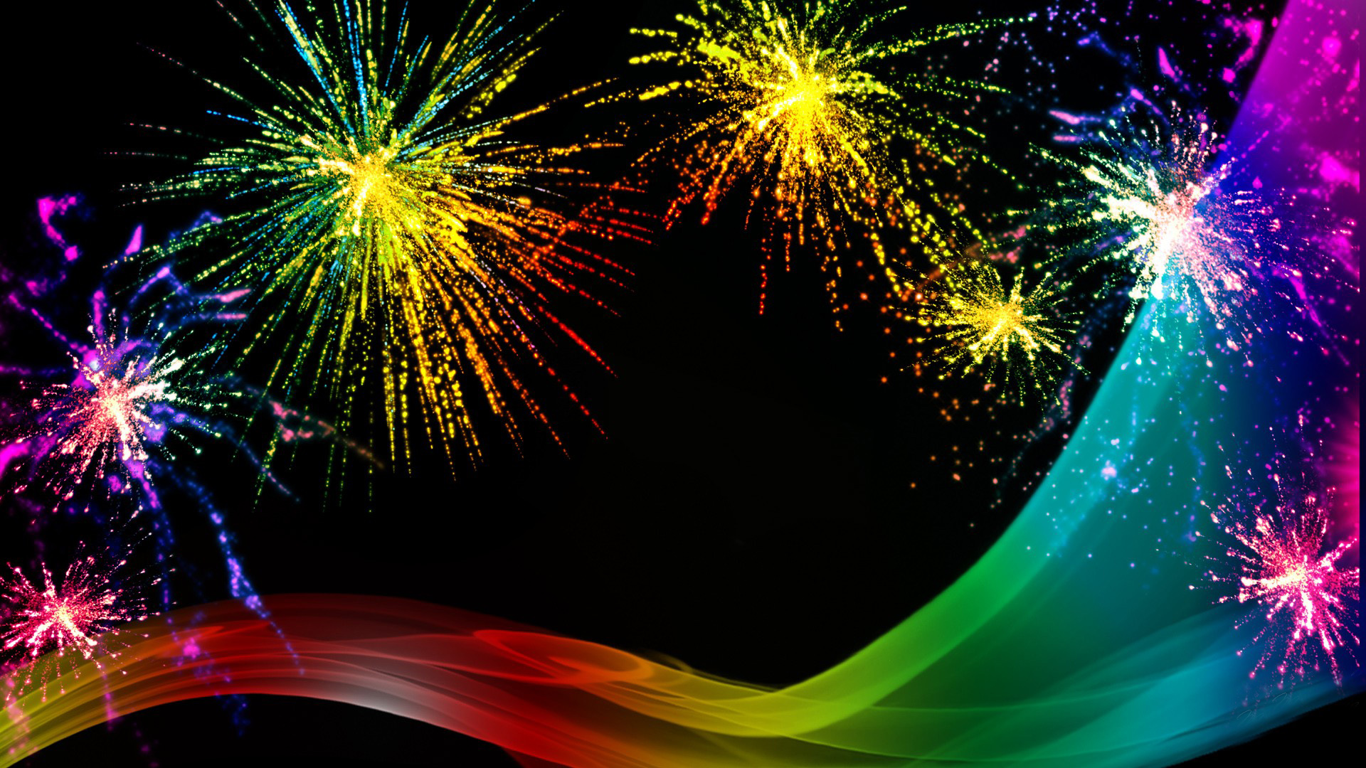 Rainbow Fireworks Celebration Colorful Abstract Image With