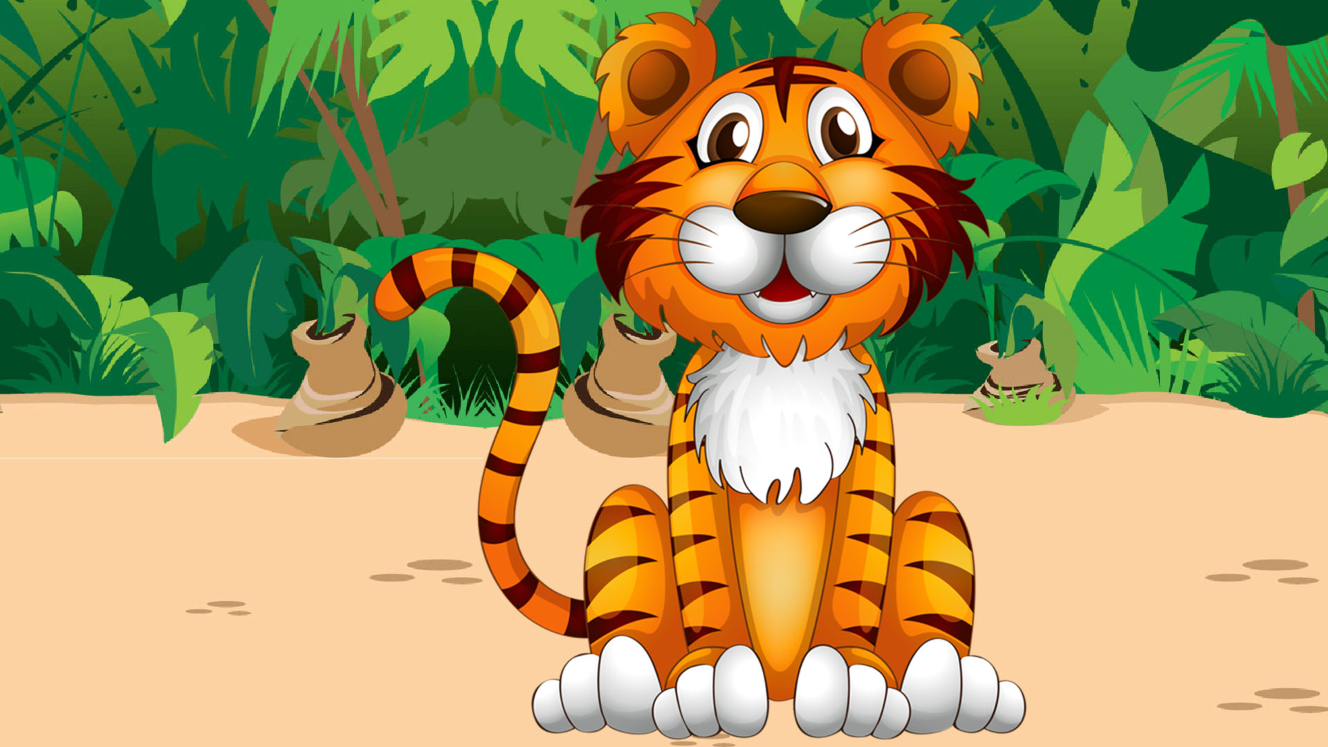 Animated Princess Wallpapers Cute Tiger Jungle Plant Cartoon Picture Pretty Desktop Hd