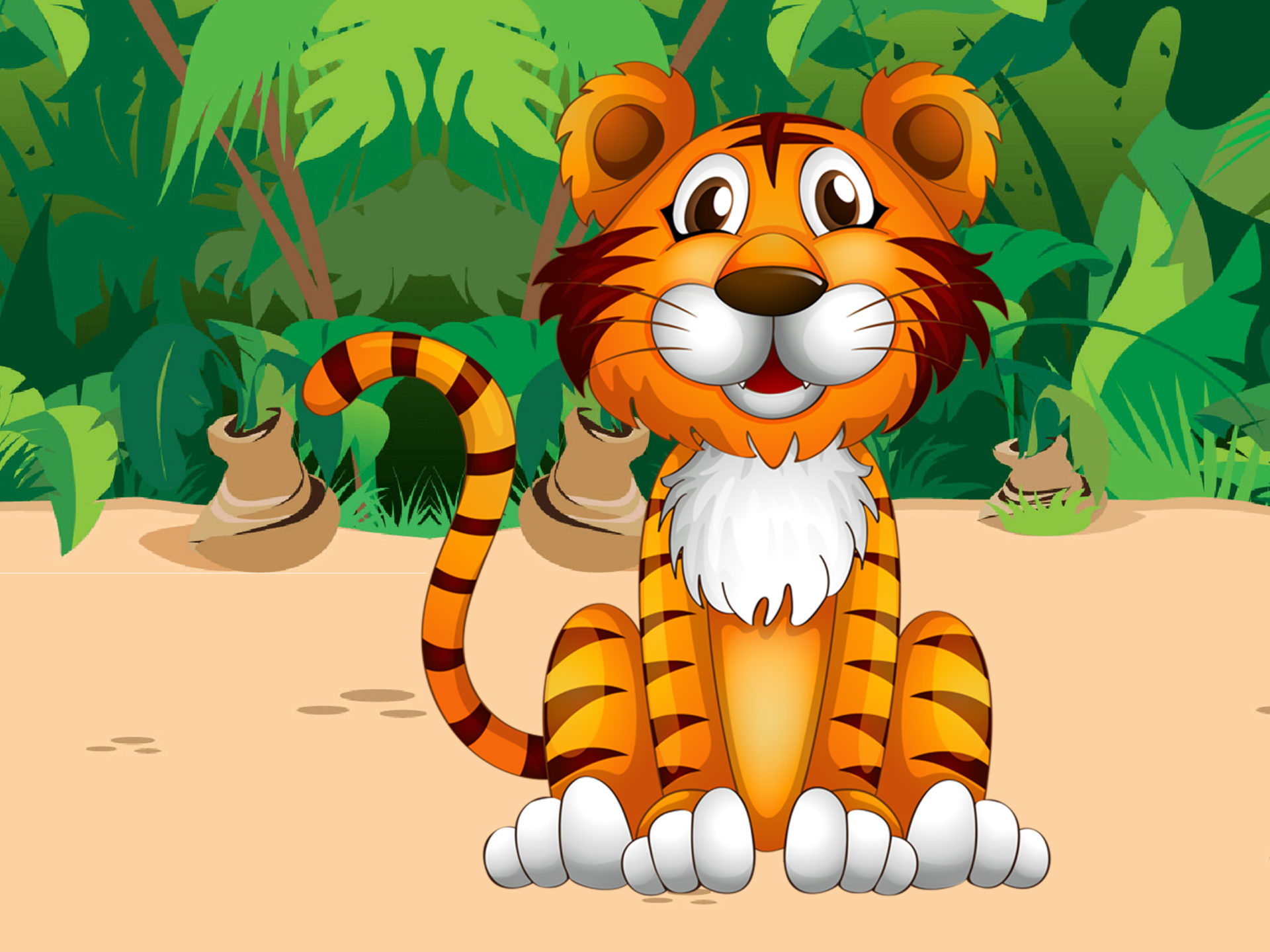 Cute Cartoon Animal Wallpapers For Android Cute Tiger Jungle Plant Cartoon Picture Pretty Desktop Hd