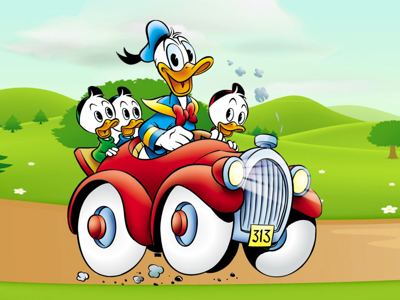 Daisy Iphone Wallpaper Donald Duck Cartoon Image Driving Car Country Road Desktop