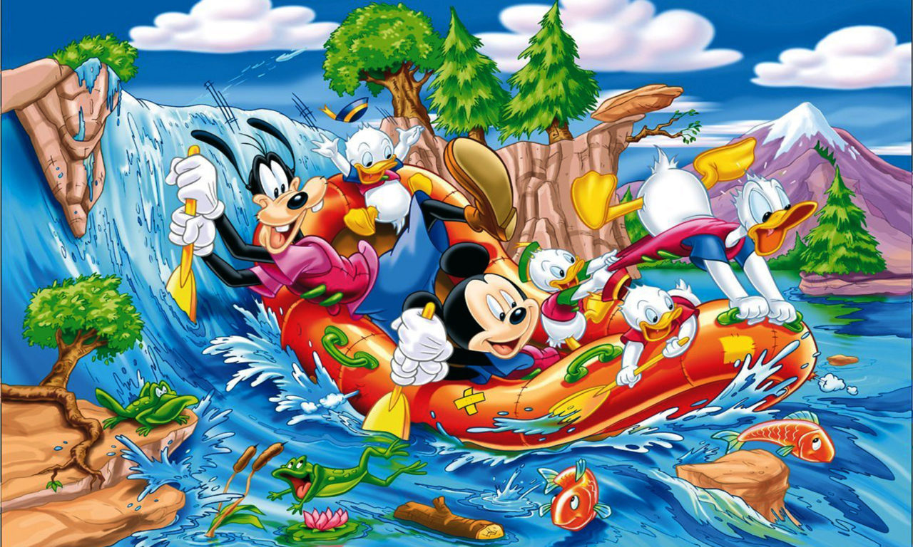 Pc Cartoon Fall Wallpapers Mickey Mouse Donald Duck And Gofy Sailing On The River