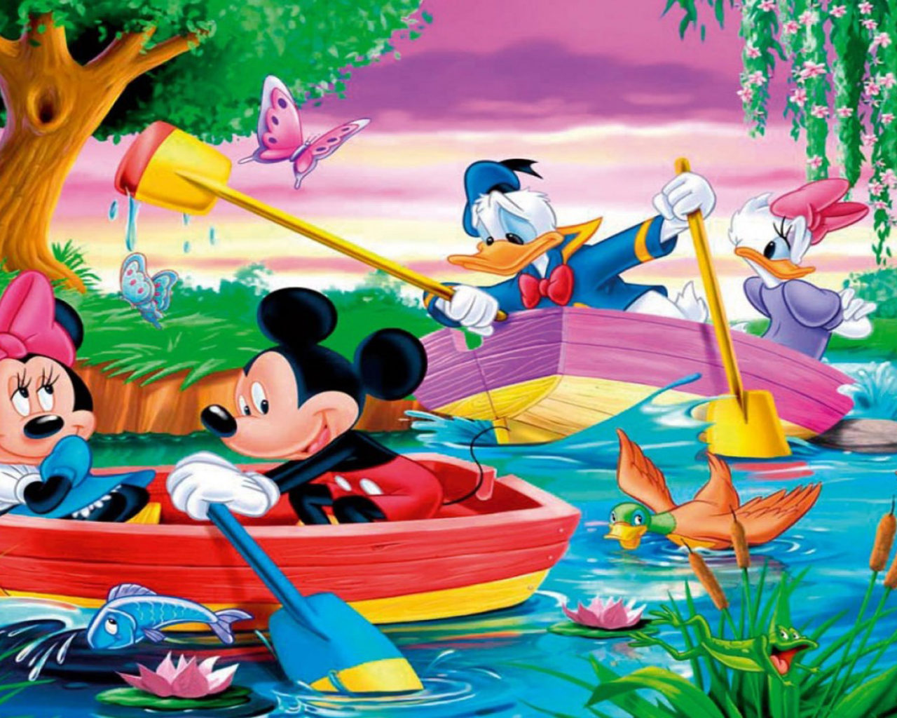 Iphone X Frame Wallpaper Mickey Mouse And Donald Duck River Boat Rowing Hd Desktop