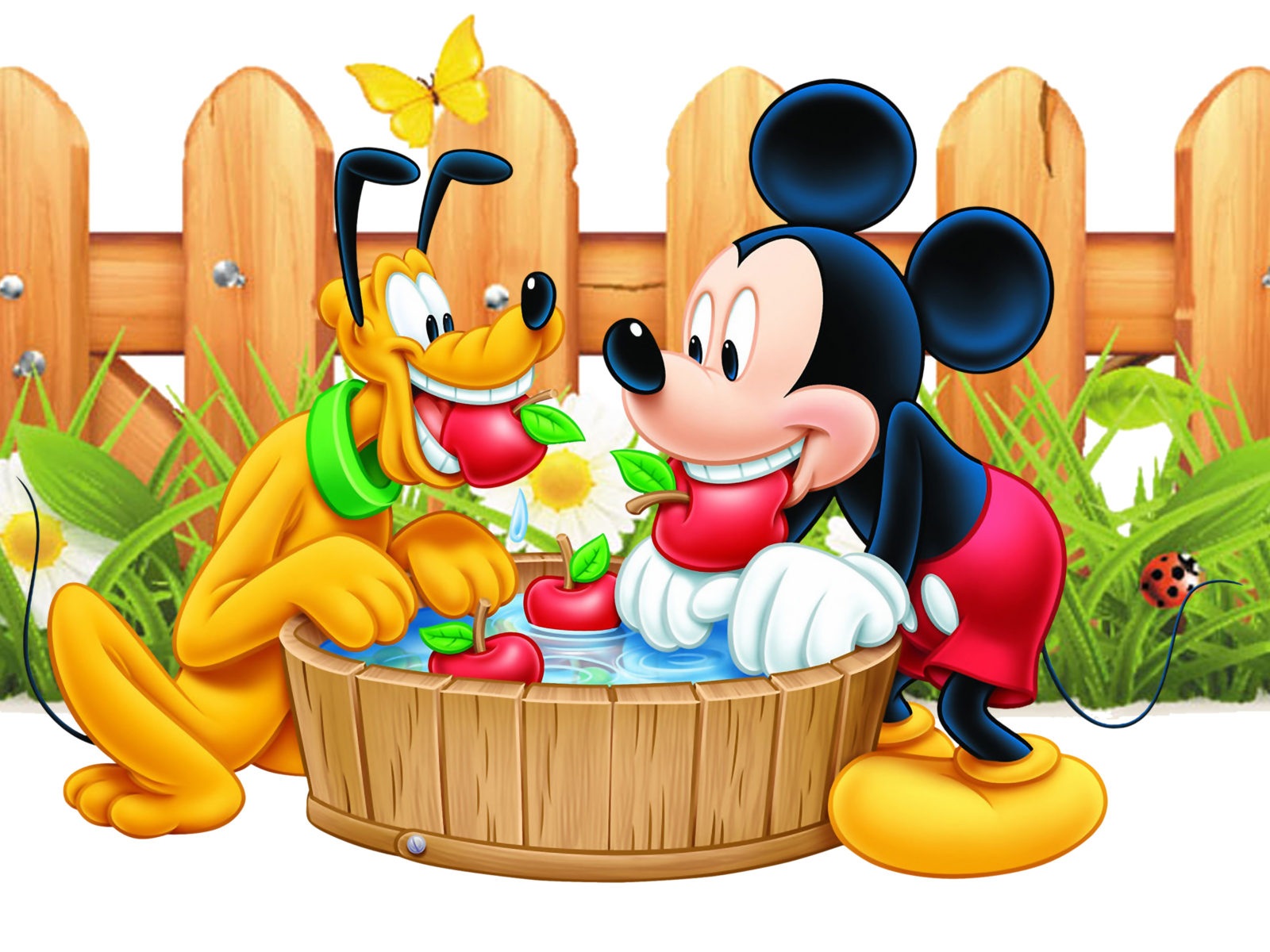 mickey mouse and pluto apple red wooden fence desktop wallpaper hd 2880x1800 wallpapers13 com