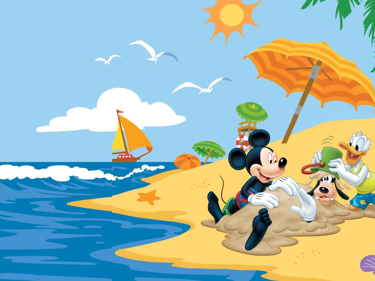 Summer Adventures With Mickey Mouse Donald Duck Goofy Disney Summer Beach Hd Wallpaper 1920x1200