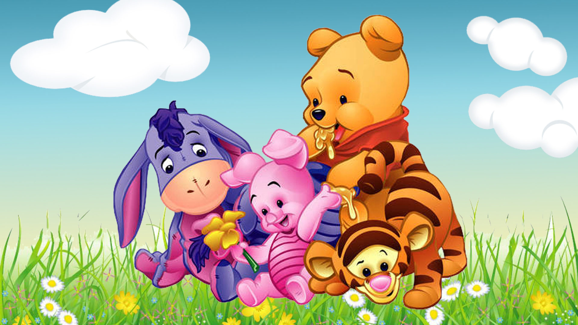Images Of Cute Babies Wallpaper Free Download Cartoon Winnie The Pooh Tigger Piglet And Eeyore Babies Hd