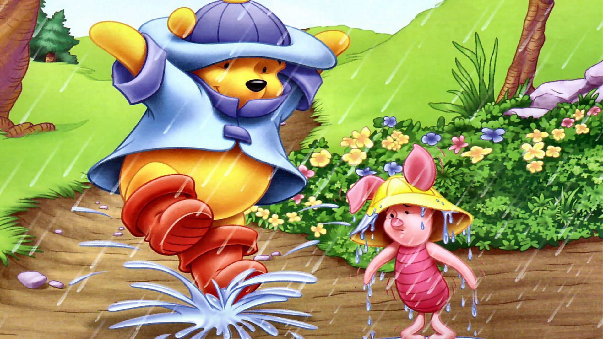 Piglet And Winnie The Pooh Dancing In The Rain Hd