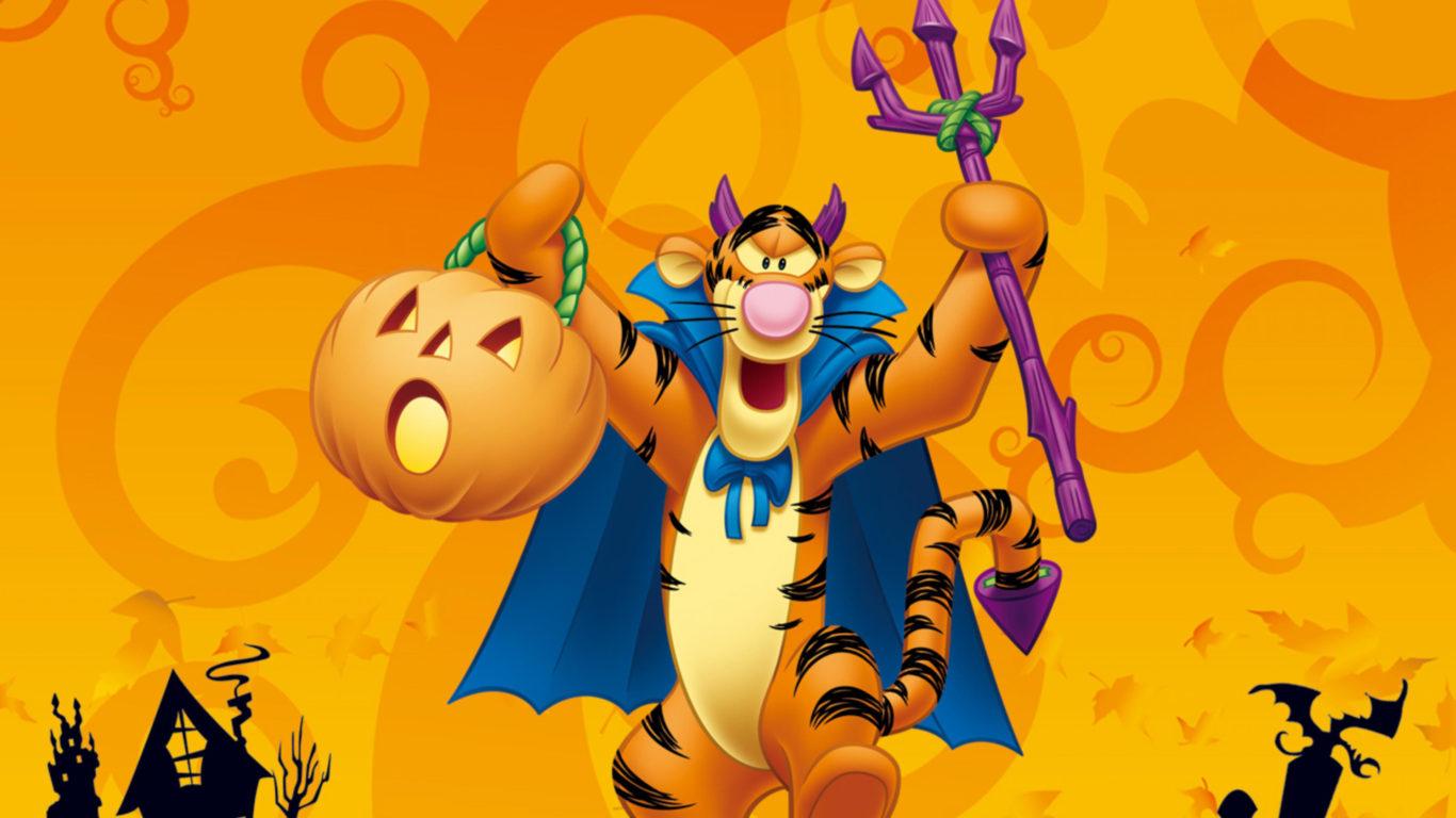 Pc Cartoon Fall Wallpapers Tigger Winnie The Pooh Halloween Disney Hd Wallpaper For
