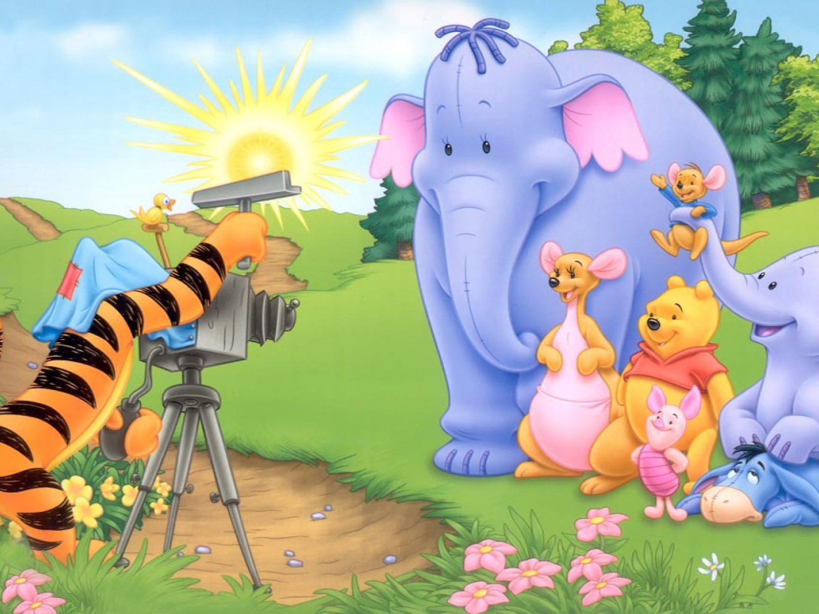 Kangaroo Wallpaper Hd Tigger Shooting Heffalumps Kanga Roo And Piglet In Eeyore