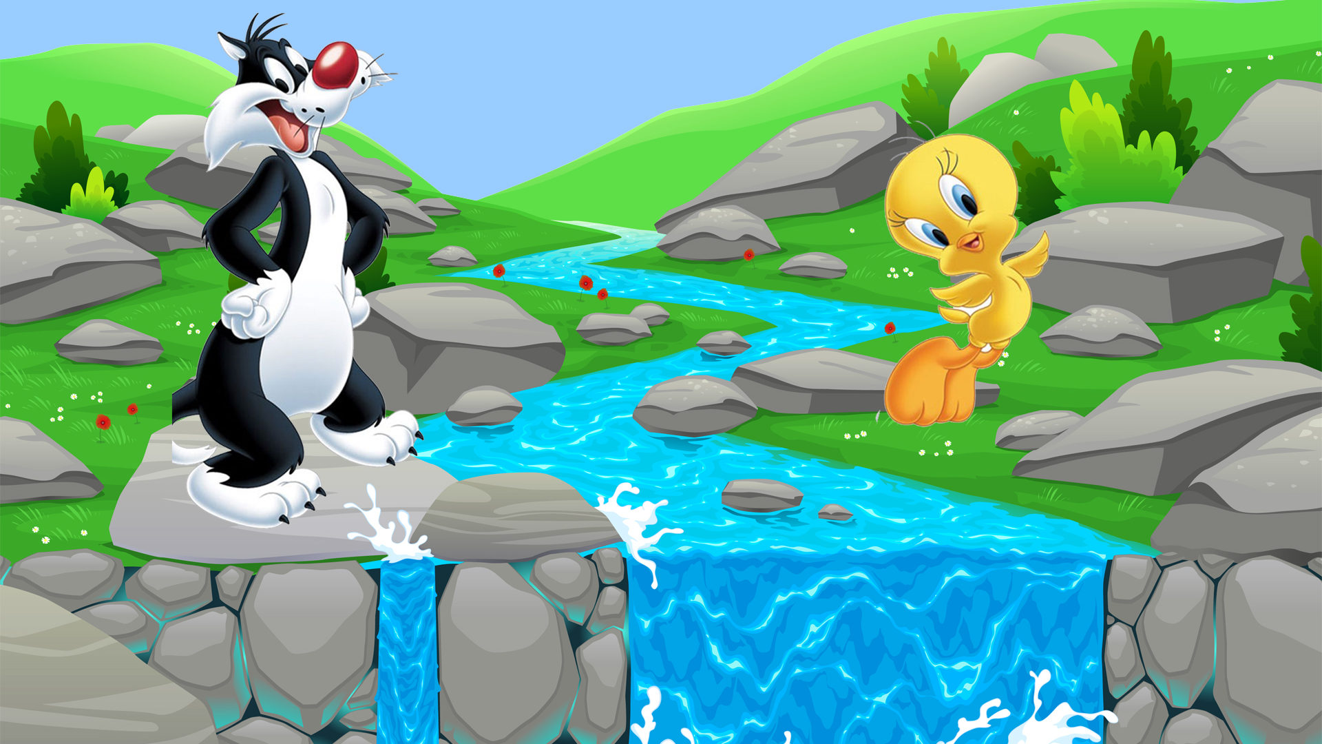 Baby Animals Hd Wallpapers Tweety And Sylvester Cat Cartoons River Falls Desktop Hd