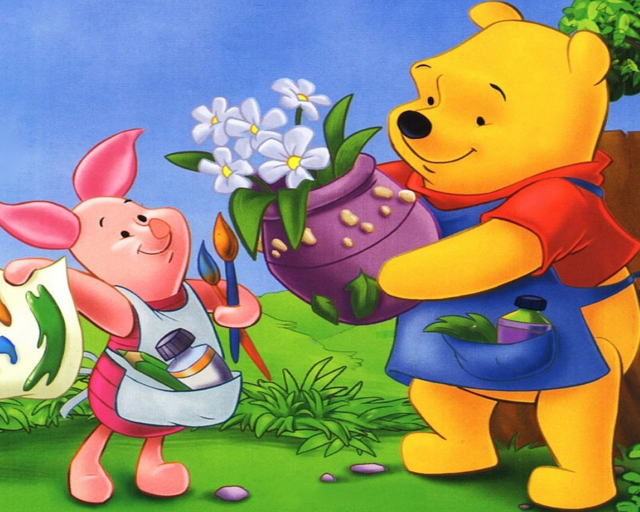 Hd Disney Cartoon Wallpapers Winnie The Pooh And Piglet Vase With Flowers Wallpapers Hd