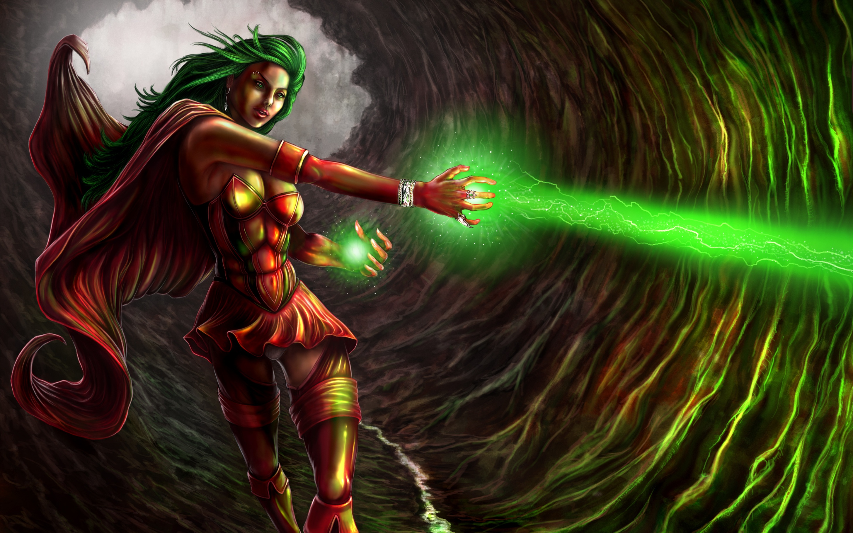 Girl New Wallpaper Download Girl With Green Hair Woman Warrior Green Magic Fantasy