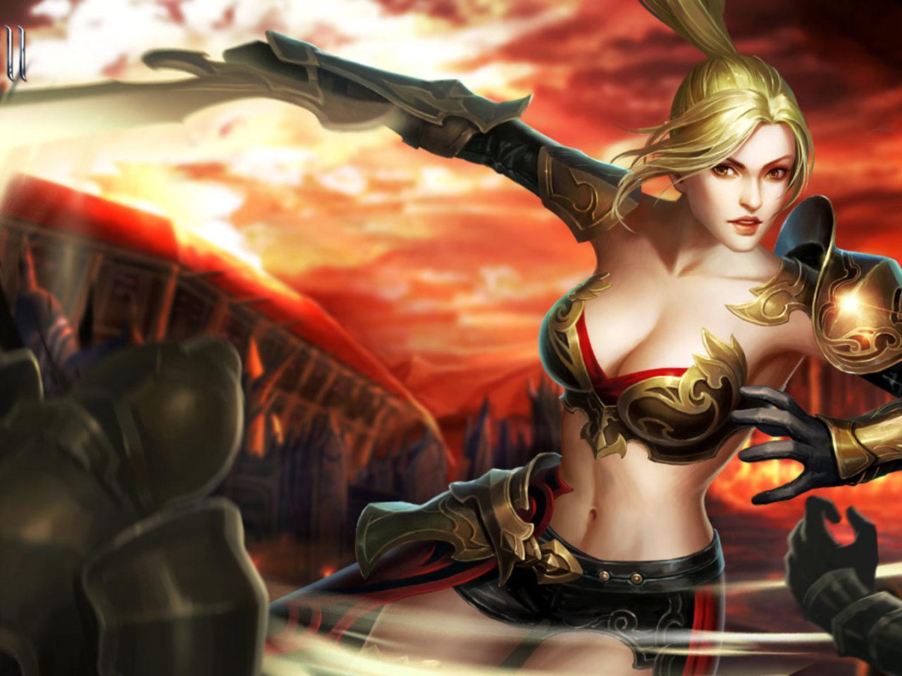 Www New Hd Girl Wallpaper Com League Of Angels 2 Karen Fantasy Girl Warrior Game Loa Art