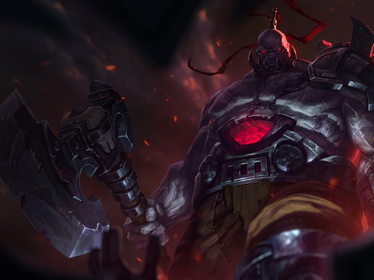 Download Wallpaper Iphone X League Of Legends Warriors Sion Armor Battle Axes Hd