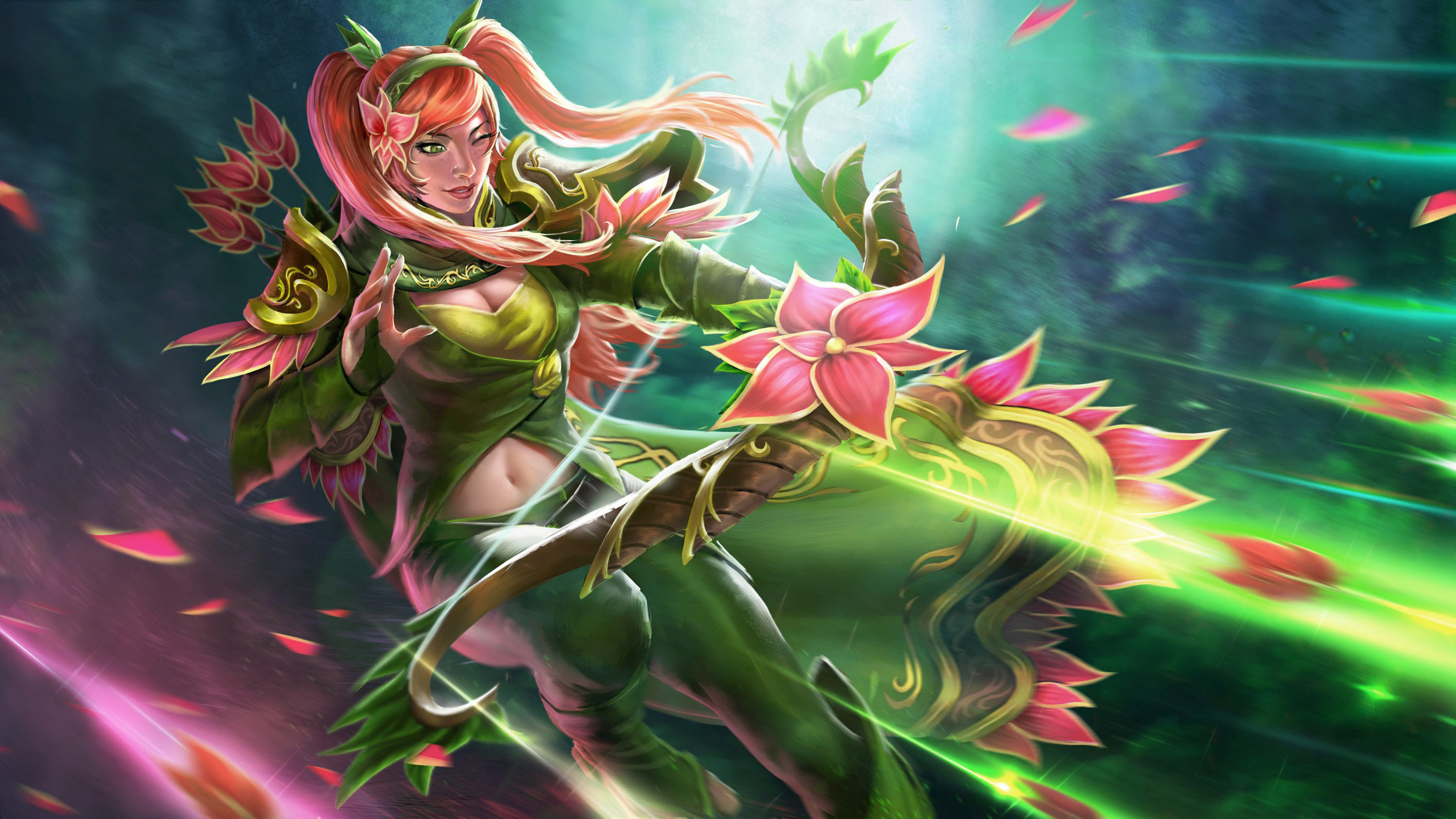 Windranger Dota 2 Heroes Beautiful Girl Orchid Flower Bow
