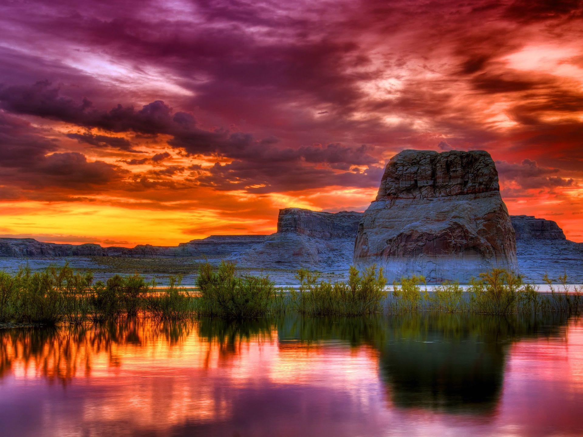 Iphone Wallpaper Rose Arizona Sunset Scenery Lake Rocky Mountains Orange Clouds