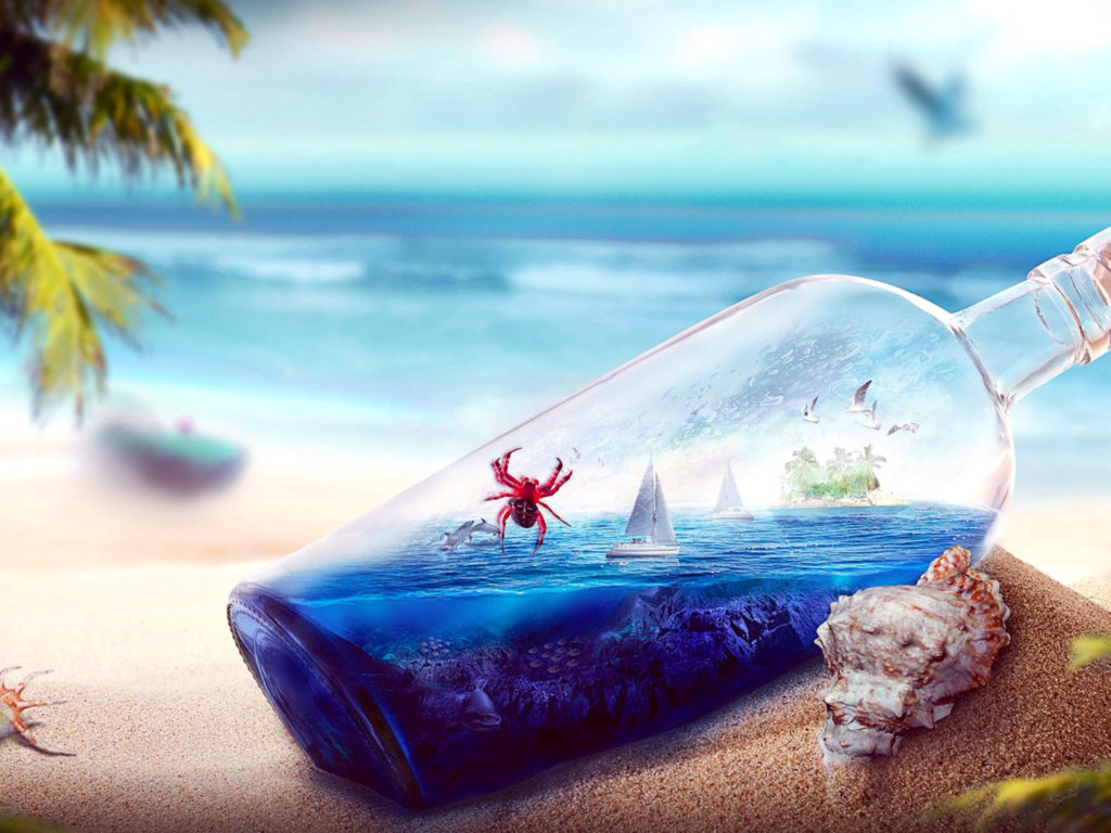 Fall Pc Wallpaper Free Glass Bottle Beach Sea Yacht Birds Dolphins In A Glass