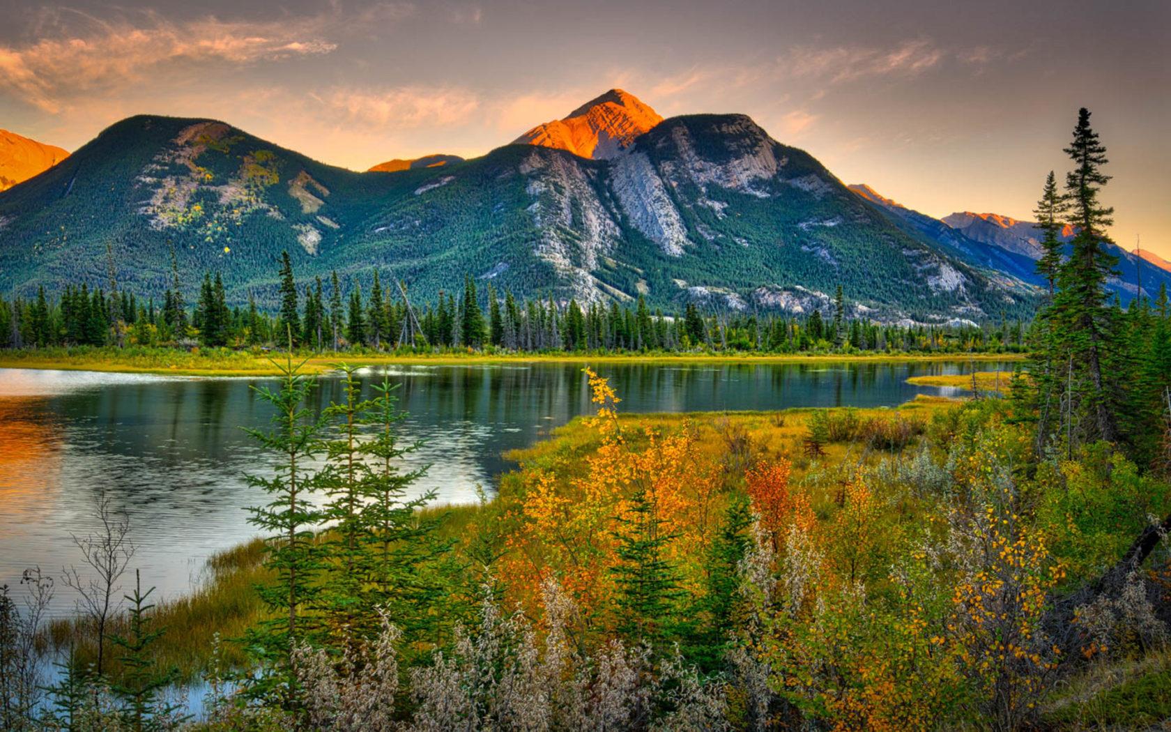 Free Fall Themed Desktop Wallpaper Natural Beauties Canada Landscape Rocky Mountains Pine