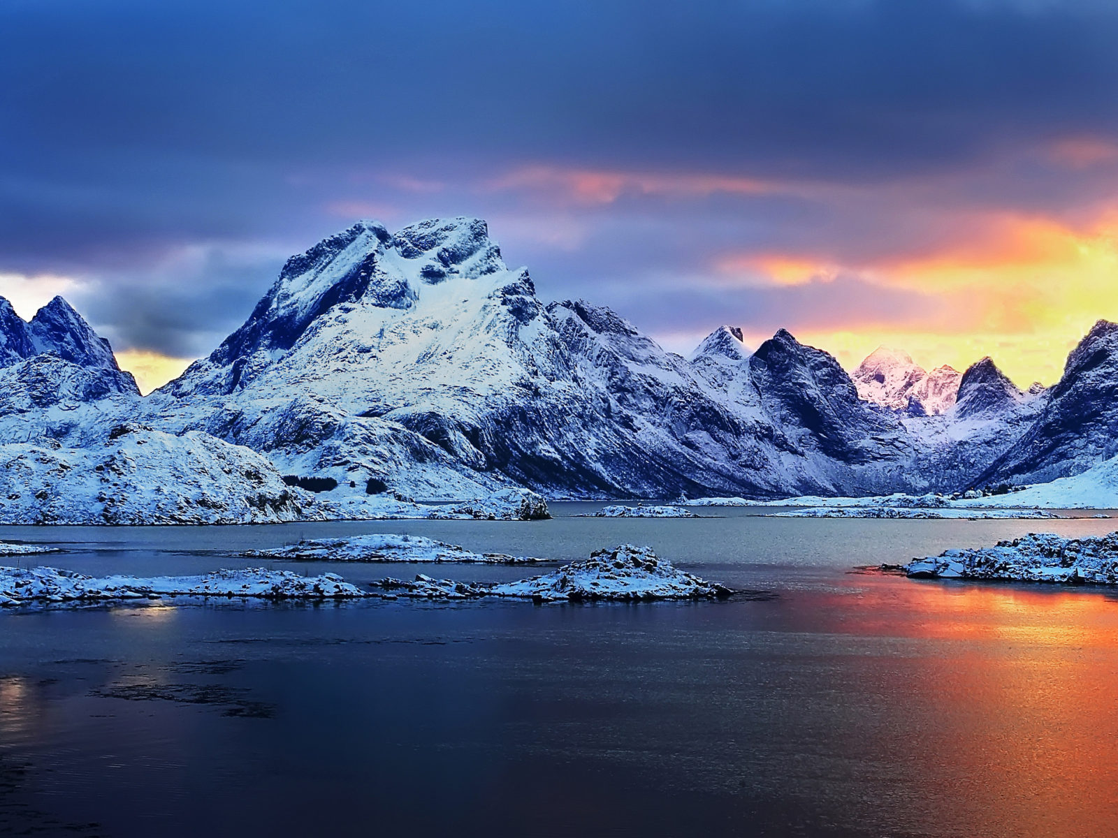Country Wallpaper Iphone Norway Sunset Snowy Mountains Winter Landscape Hd