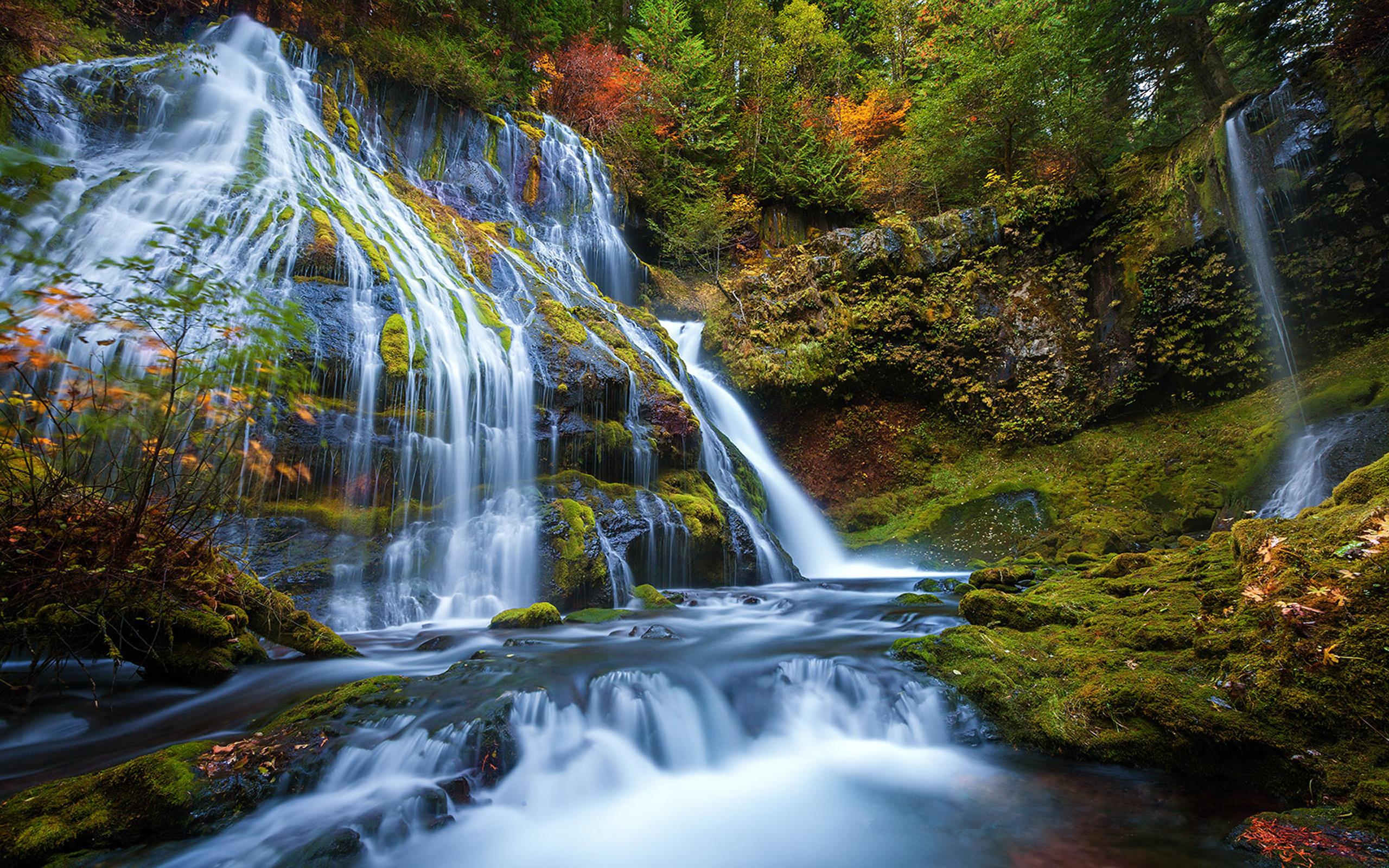 Fall Colors Computer Wallpaper Panter Creek Falls Waterfall 130 Meters High Panther Creek