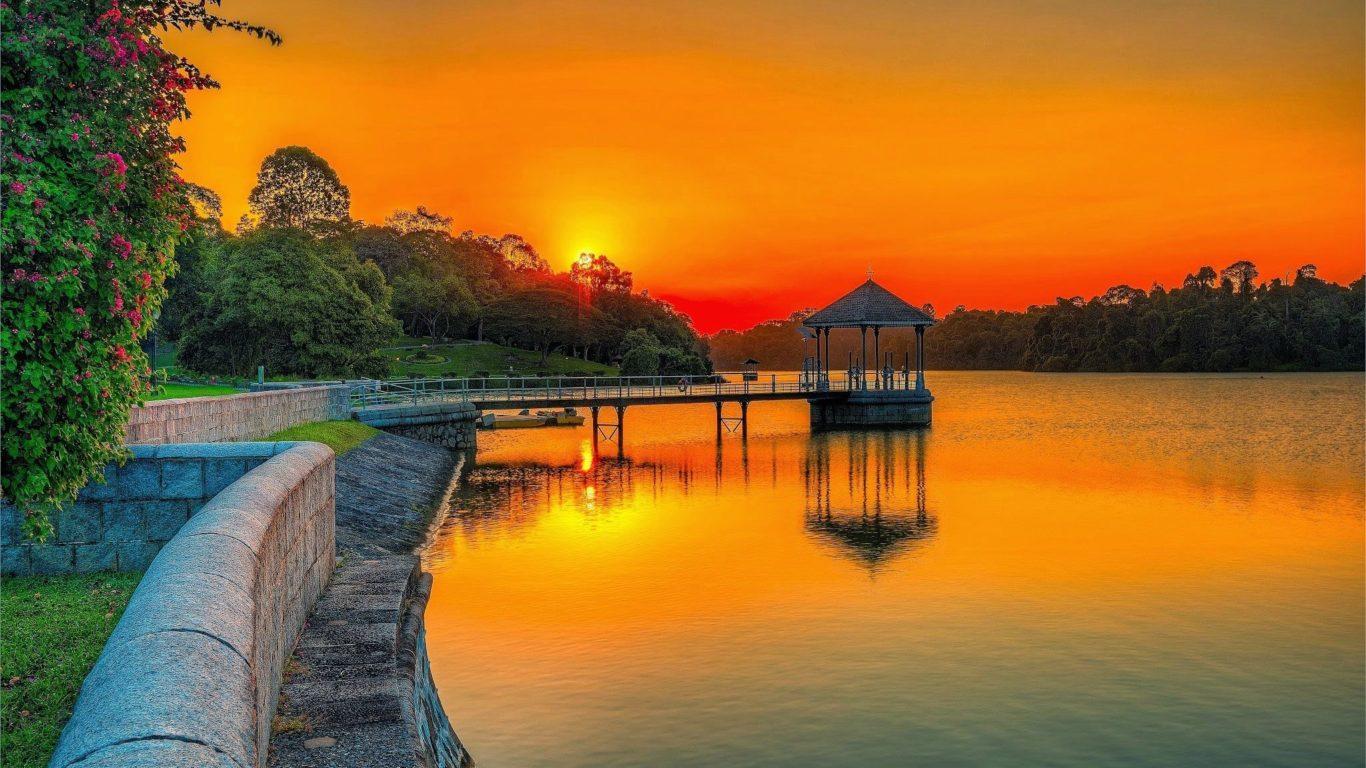 Fall Wallpaper Water Sunset Orange Sky Lake Park Wooden Platform Summer Garden