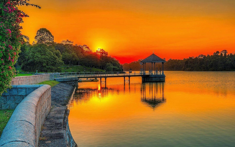 Free Fall Wallpaper Images Sunset Orange Sky Lake Park Wooden Platform Summer Garden