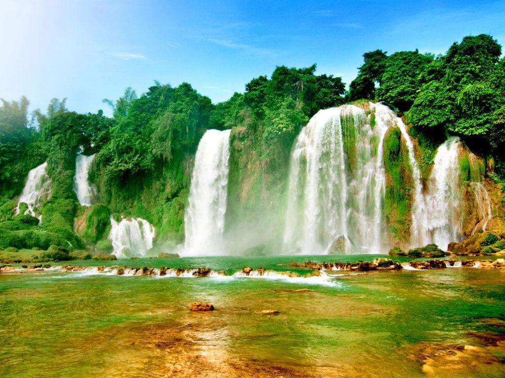 Wonderful Wallpapers Hd Ban Gioc Detian Falls Two Waterfalls On The Qu 226 Y Sơn River