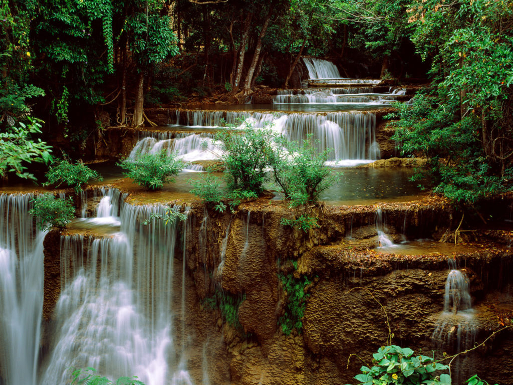 Fall Landscape Computer Wallpaper Green Cascade Waterfall Green Forest Rocks Computer