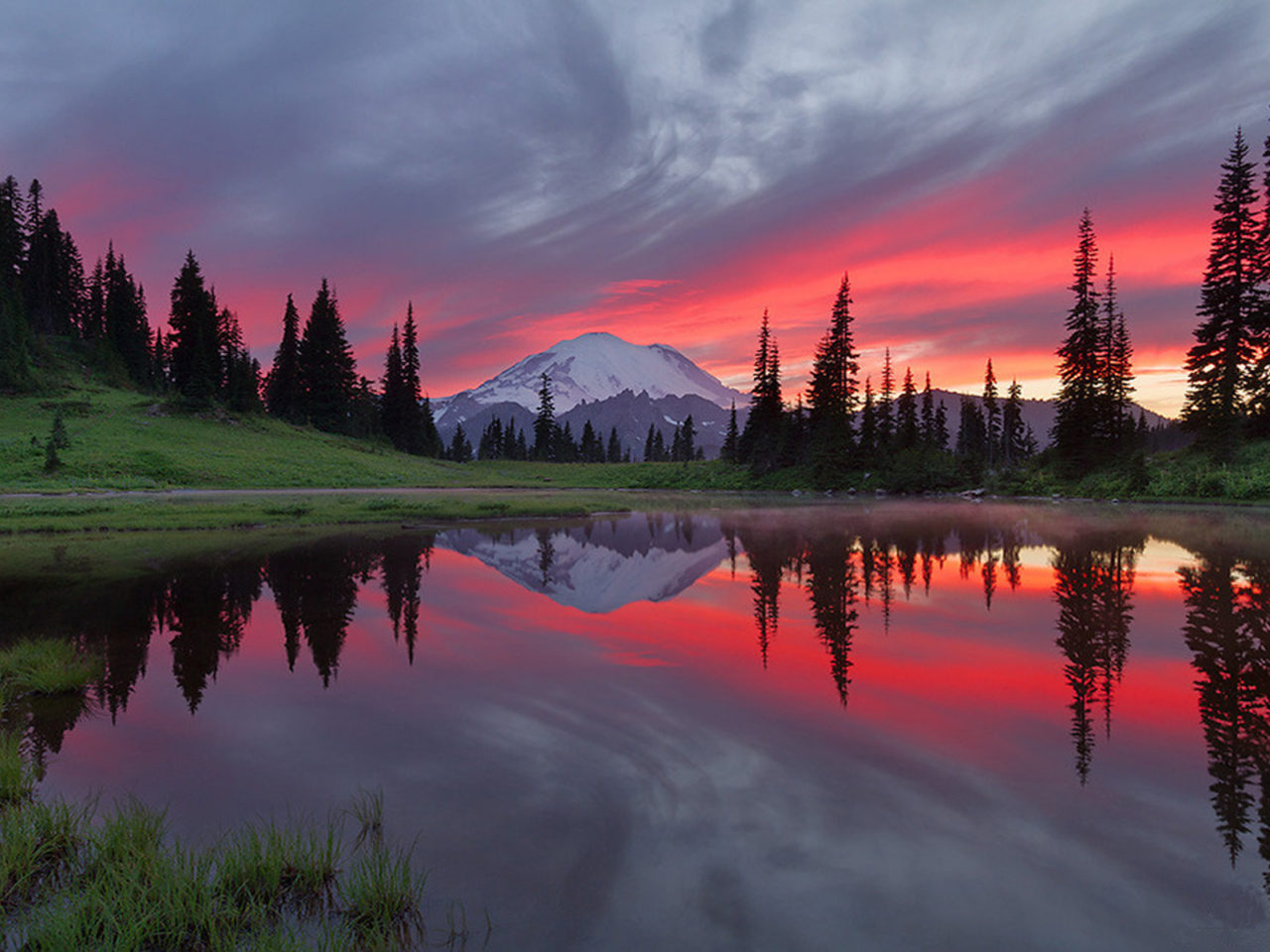 Hd Wallpaper Ipad 3 Pink Sunset Reflection Tipsoo Lake Mount Rainier