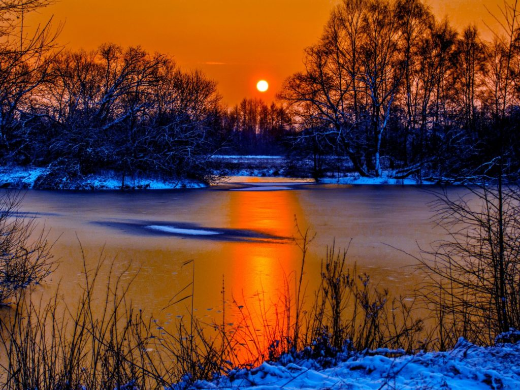 Snow Wallpaper Iphone 5 Sunset In Winter Snow River Coast Two Sun Orange Sky