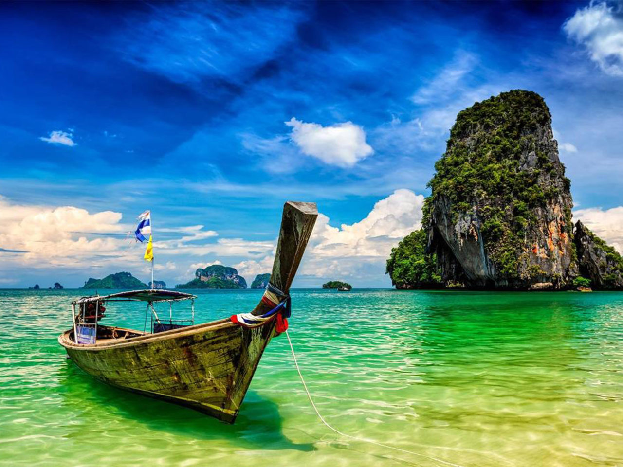 Florida State Iphone X Wallpaper Pranang Beach And Rock Krabi Thailand Long Tail Boat On A